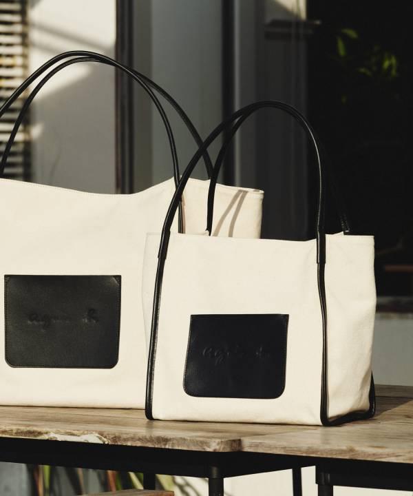 特價日本agnes b.牛皮滾邊口袋肩背帆布包(售價已折) agnes b.,帆布包