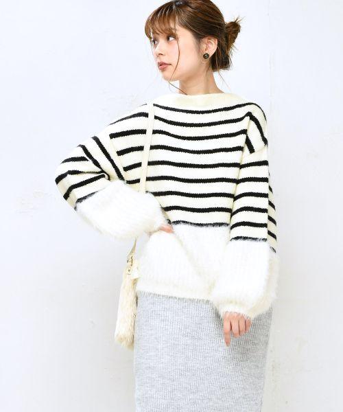 日本代購-特價natural couture 毛毛拼接上衣(售價已折) 日本代購,毛衣