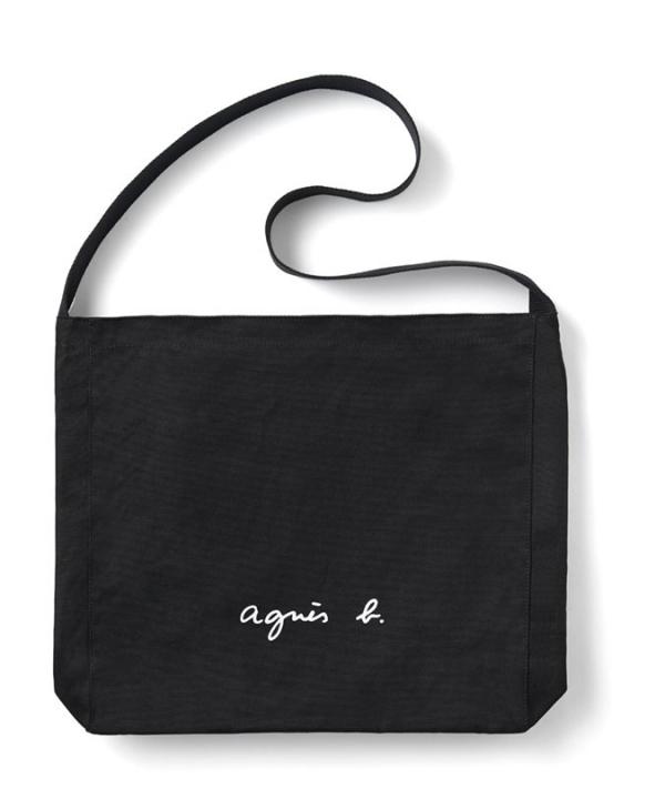 日本代購-特價agnes b.文青風Logo帆布單肩包(售價已折) agnes b.,日本代購,大容量肩背包