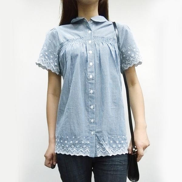 日本ANNA LUNA 現貨-藍色格紋花邊下擺質感襯衫 日本,ANNA LUNA,上衣