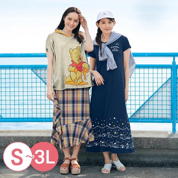日本代購-迪士尼米奇米妮印花長洋裝(共四色/3L) 日本空運,東區時尚,洋裝