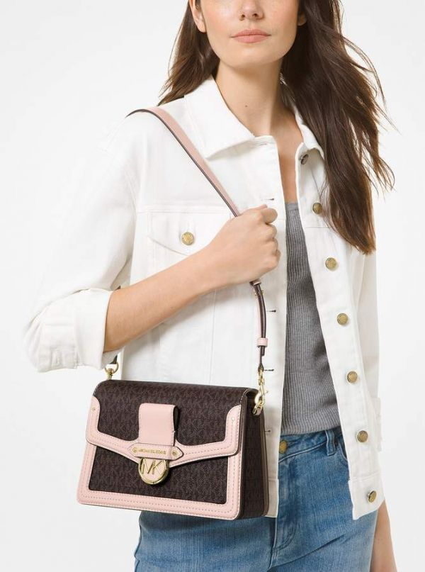 超值代購 MICHAEL MICHAEL KORS Jessie Medium Two-Tone Logo and Leather Shoulder Bag(售價已折) Michael Kors ,皮革單肩包