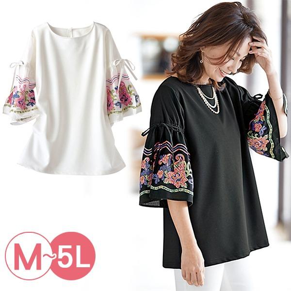 日本代購-portcros高雅彩色繡花寬袖上衣3L-5L(共二色) 日本代購,portcros,刺繡