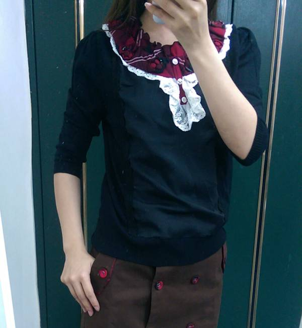 現貨-學院風拼接蕾絲滾邊七分袖薄針織上衣(共一色/F) 日本代購,現貨