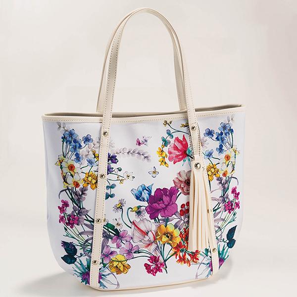 日本代購-典雅繽紛花語流蘇手提肩背包(共二色) 日本空運,東區時尚,手提袋