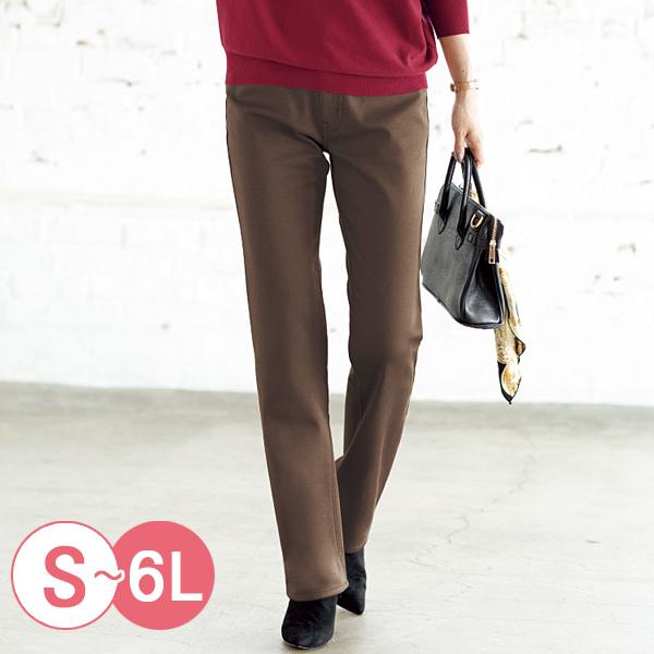 日本代購-cecile棉質斜紋布內面搖粒絨直筒褲(共三色/3L-6L) 日本代購,CECILE,直筒褲