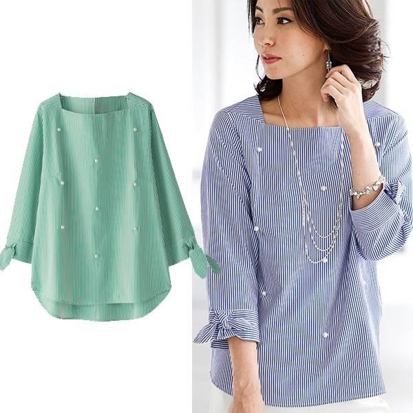 日本代購-portcros珍珠綴飾袖綁結條紋上衣(共二色/3L-5L) 日本代購,portcros,上衣