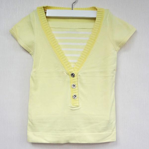現貨-日本CIELO Mevbles de Monde 條紋二件式針織罩衫-黃色/M 日本代購,現貨,長褲
