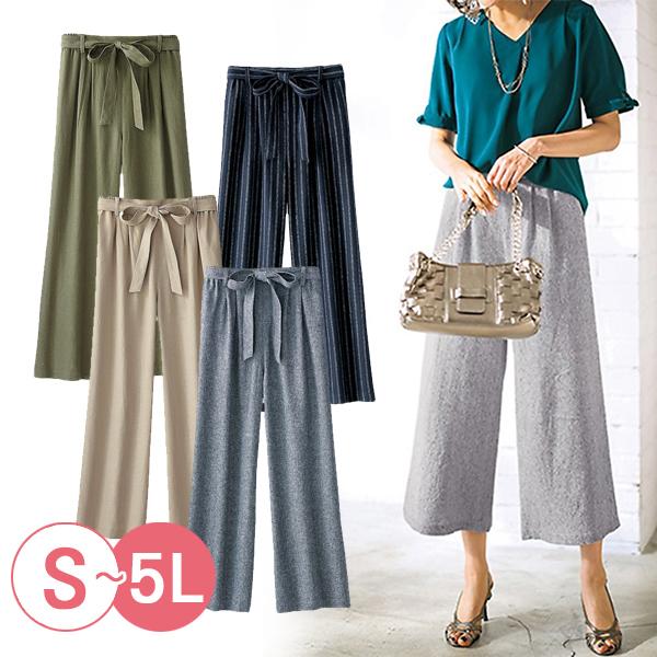 日本代購-portcros繫帶混麻休閒寬褲3L-5L(共五色) 日本代購,portcros,寬褲