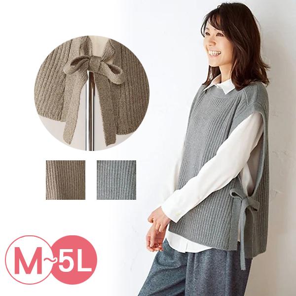 日本代購-側邊綁結羅紋針織背心(共二色/3L-5L) 日本代購,針織,背心
