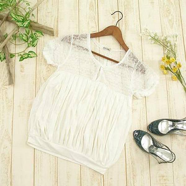 日本CIELO 現貨-蕾絲剪接百摺束腰上衣(白色/M) 日本代購