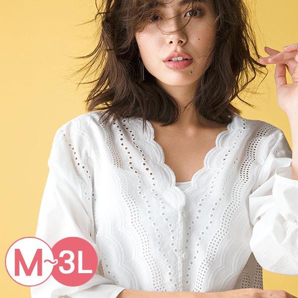 日本代購-portcros前扣刺繡V領糖果袖襯衫M-LL(共四色) 日本代購,portcros,刺繡