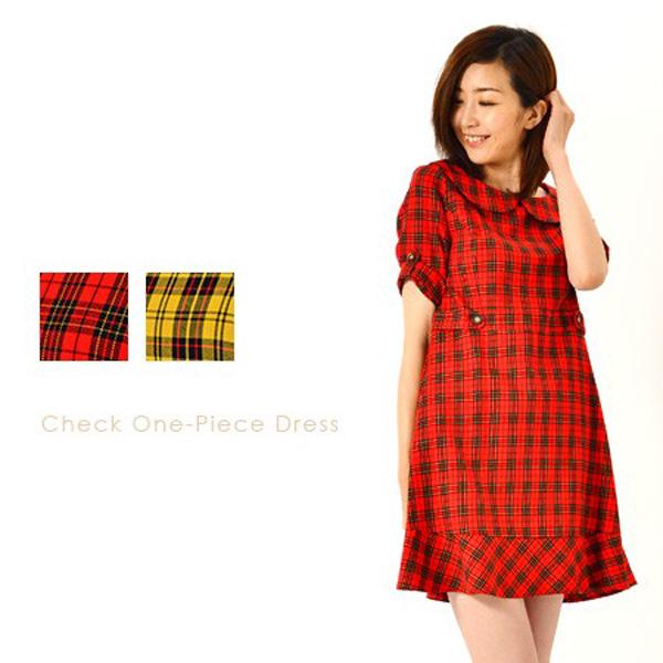 日本GARe 現貨-夏季格紋短袖連身裙(黃色系/M) 日本代購