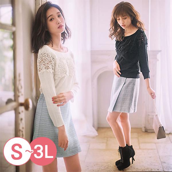 日本代購-GINGER羅紋編織蕾絲拼接上衣(共三色/3L) 日本代購,GINGER,蕾絲