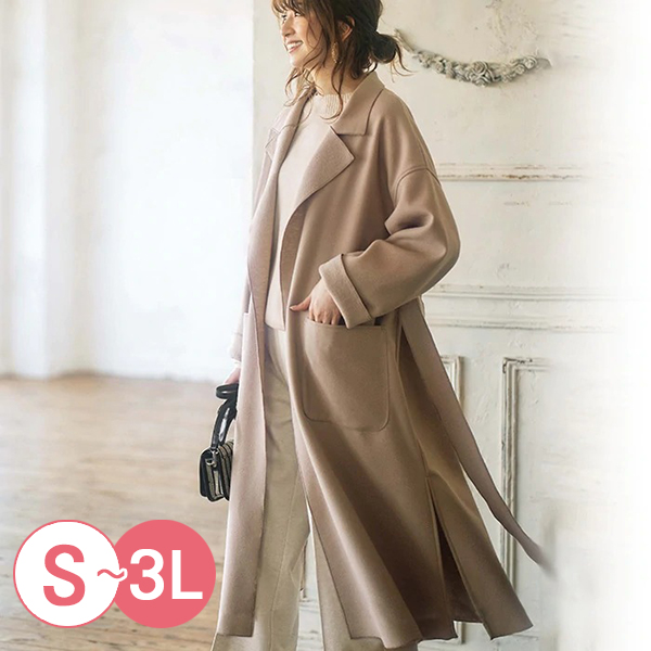 日本代購-輕柔簡雅長版毛呢大衣(共四色/S-LL) 日本代購,毛呢,大衣