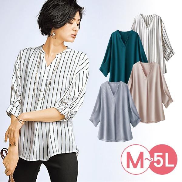 日本代購-portcros造型打褶袖機能性上衣(共四色/3L-5L) 日本代購,portcros,V領