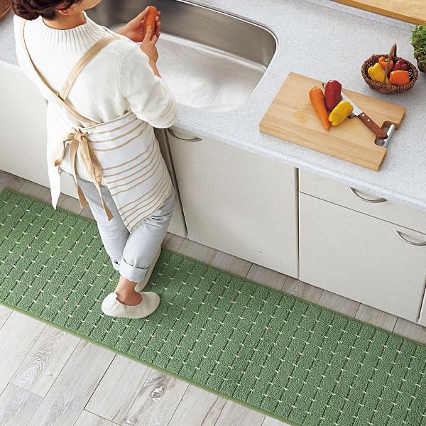 現貨日本方格設計素色廚房地墊腳踏墊(綠色) 日本代購,東區時尚,腳踏墊