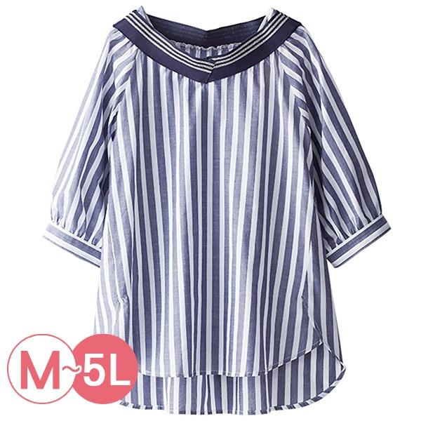 日本代購-portcros清爽棉麻造型領條紋襯衫上衣(共三色/3L-5L) 日本代購,portcros,條紋