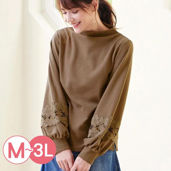 日本代購-蕾絲泡泡袖裡拉絨高領上衣(共三色/M-LL) 日本代購,蕾絲,泡泡袖