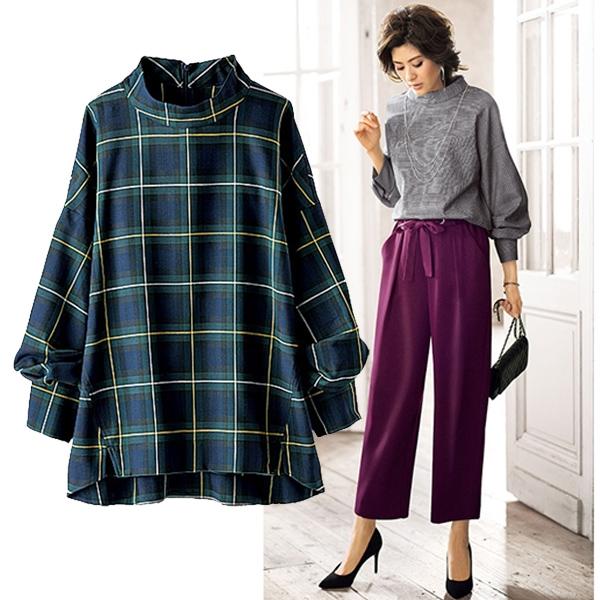 日本代購-portcros立領袖褶設計襯衫(共四色/3L-5L) 日本代購,portcros,上衣
