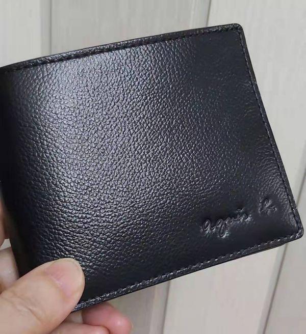 特價日本agnes b 牛皮可放照片短夾(售價已折) agnes b.,牛皮,短夾