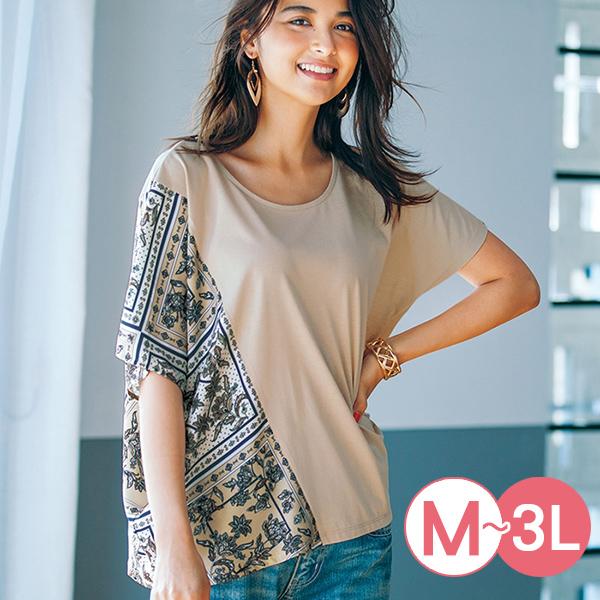 日本代購-印花拼接不對稱造型T恤(共三色/M-LL) 日本代購,不對稱,T恤