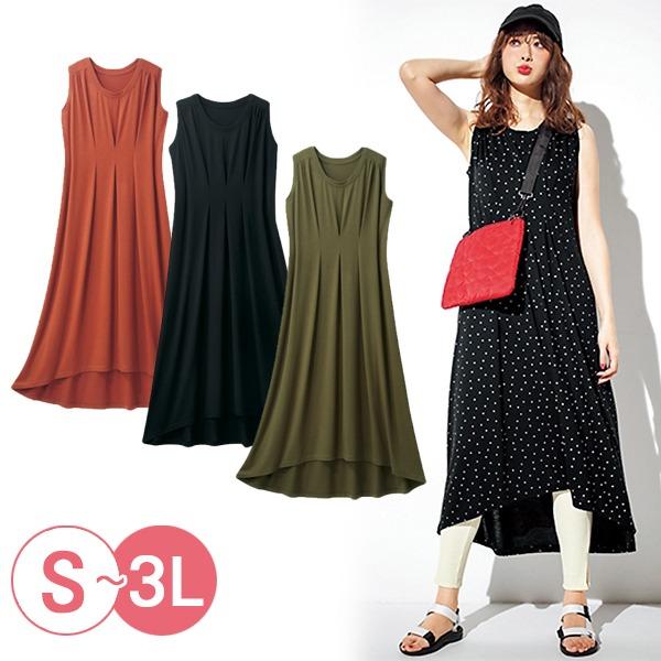 日本代購-portcros折縫設計cool fiber無袖洋裝3L(共四色) 日本代購,portcros,無袖