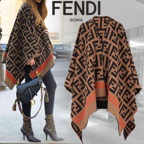 超值代購特價FENDI FF 披風 拼色羊毛真絲披風(售價已折) FENDI,披風