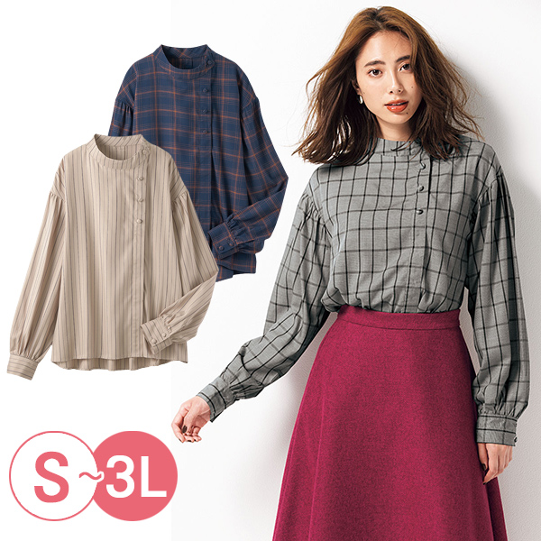 日本代購-cecile不對稱鈕扣設計蜜桃絨立領發熱襯衫(共三色/3L) 日本代購,CECILE,發熱衣
