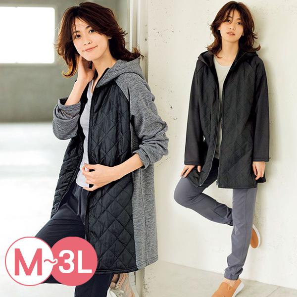 日本代購-RyuRyu mall連帽拉絨拼接絎縫鋪棉夾克(共二色/3L) 日本代購,RyuRyu mall,拼接