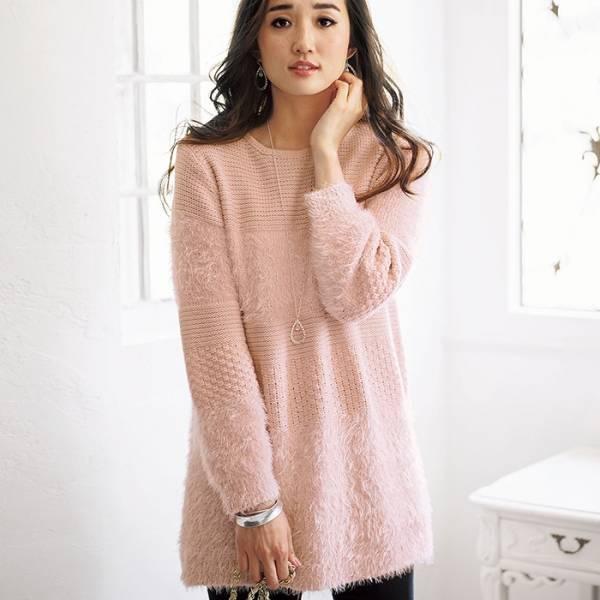 日本代購-portcros羽毛紗混銀蔥針織長版衫(M-LL) 日本代購,portcros,連身裙