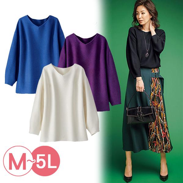日本代購-portcros簡雅泡泡袖V領針織上衣(共四色/3L-5L) 日本代購,portcros,泡泡袖