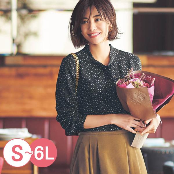 日本代購-領結設計袖口抽褶喬其紗襯衫(共三色/3L-6L) 日本代購,喬其紗