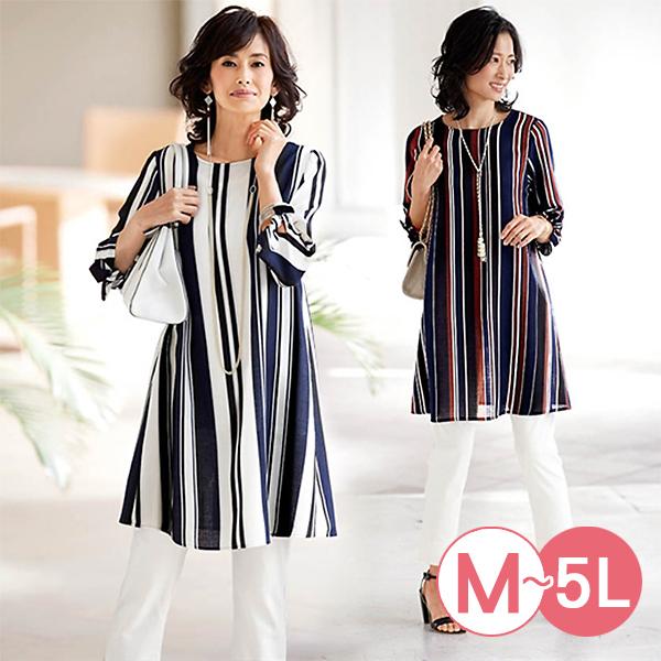 日本代購-portcros時尚綁帶設計直條紋長版上衣(共三色/3L-5L) 日本代購,portcros,條紋