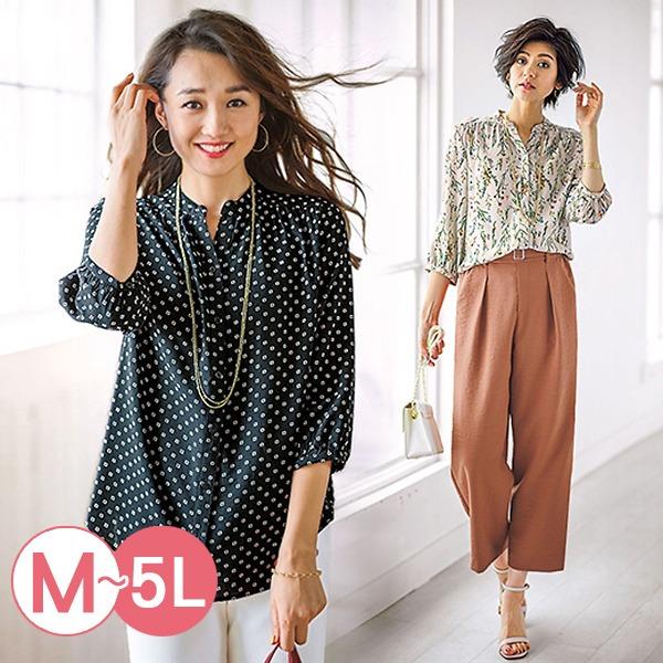 日本代購-portcros七分袖皺褶設計印花襯衫3L-5L(共四色) 日本代購,portcros,襯衫