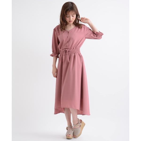 日本代購-現貨MAJESTIC LEGON束腰帶風格設計連衣裙(粉紅M) 日本代購,MAJESTIC LEGON,洋裝
