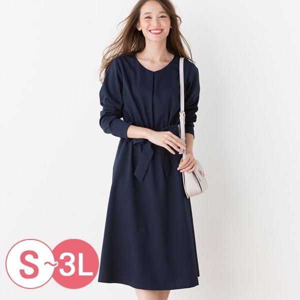 日本代購-cecile折縫鬆緊腰V領綁帶洋裝3L(共二色) 日本代購,CECILE,洋裝