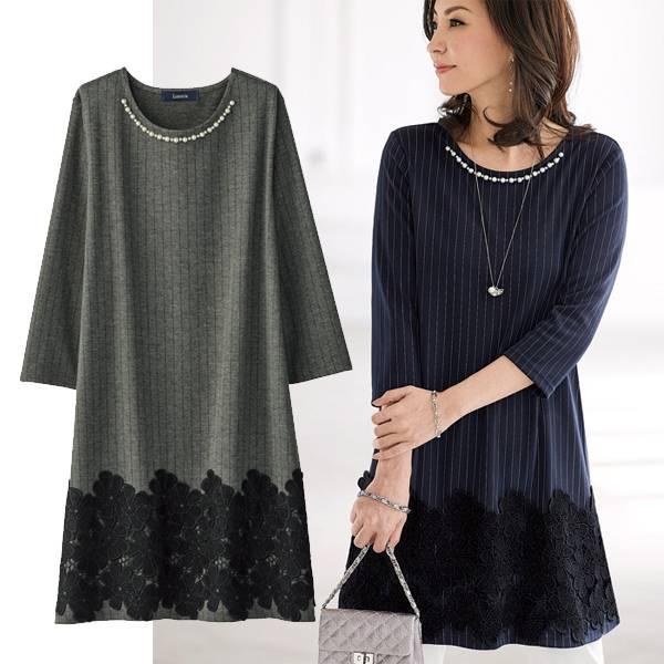 日本代購-portcros珍珠綴飾下擺蕾絲連衣裙(共二色/3L-5L} 日本代購,portcros,上衣