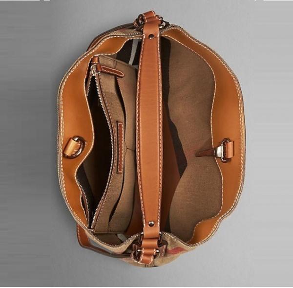 日本代購-特價BURBERRY The Ashby經典格紋皮革水桶包(售價已折) 日本代購,BURBERRY,水桶包