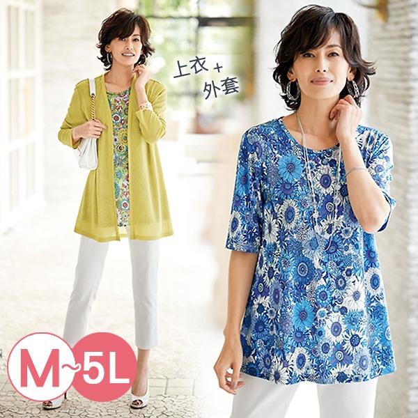日本代購-portcros兩件式印花短袖上衣針織外套組(共三色/3L-5L) 日本代購,portcros,針織