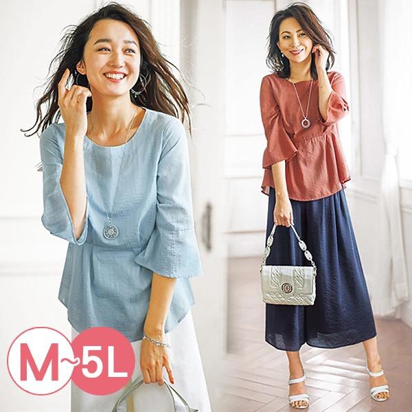 日本代購-portcros折縫抽褶寬袖提花上衣3L-5L(共五色) 日本代購,portcros,寬袖