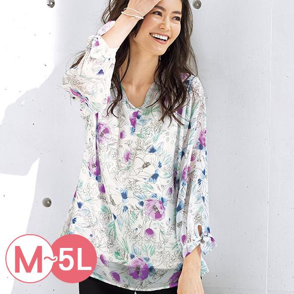 日本代購-portcros袖口綁結印花雪紡上衣(共四色/M-LL) 日本代購,portcros,雪紡