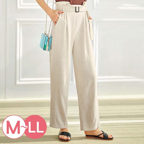 日本代購-麻質高腰釦環腰帶寬腿褲(共三色/M-LL) 日本代購,寬褲,高腰