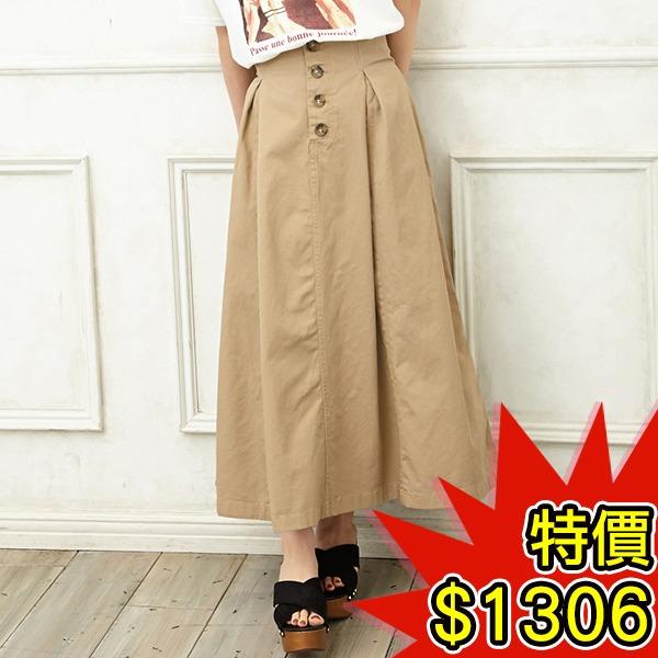 日本代購-INGNI氣質排釦高腰抽褶長裙(共二色) 日本空運,東區時尚,長裙