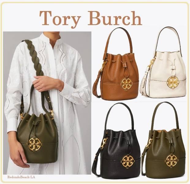 Tory Burch Miller 全皮束口水桶包(售價已折) TORY BURCH 水桶包