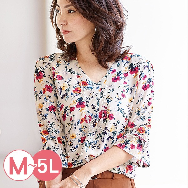 日本代購-portcros袖口綁結折縫V領印花上衣M-LL(共五色) 日本代購,portcros,V領