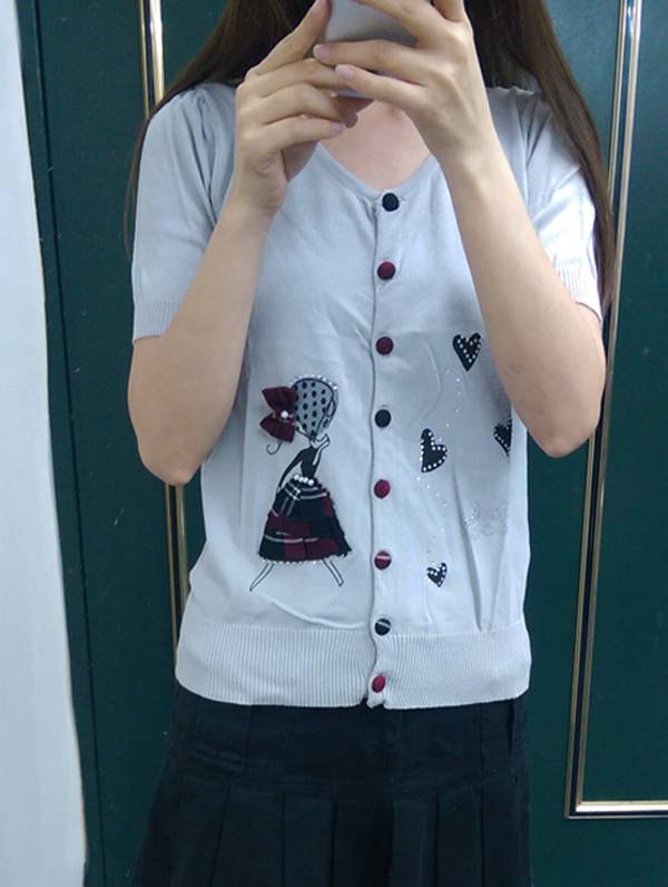 現貨-優雅女伶排釦薄針織短袖上衣(共一色/F) 日本代購,現貨