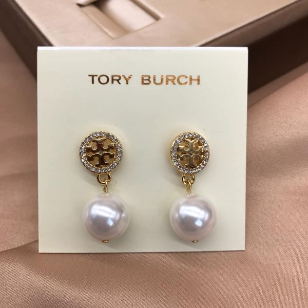 日本代購-特價Tory burch鑲鑽珍珠吊飾K金耳環(售價已折) 日本代購,Tory burch,珍珠,K金,耳環