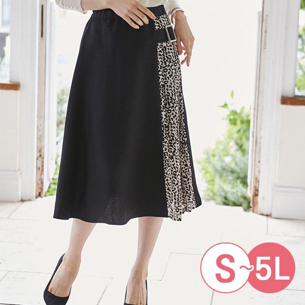 日本代購-portcros豹紋拼接時尚褶皺設計裙(S-LL) 日本代購,portcros,拼接