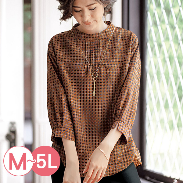 日本代購-portcros小花紋印花立領折縫罩衫(共三色/M-LL) 日本代購,portcros,印花